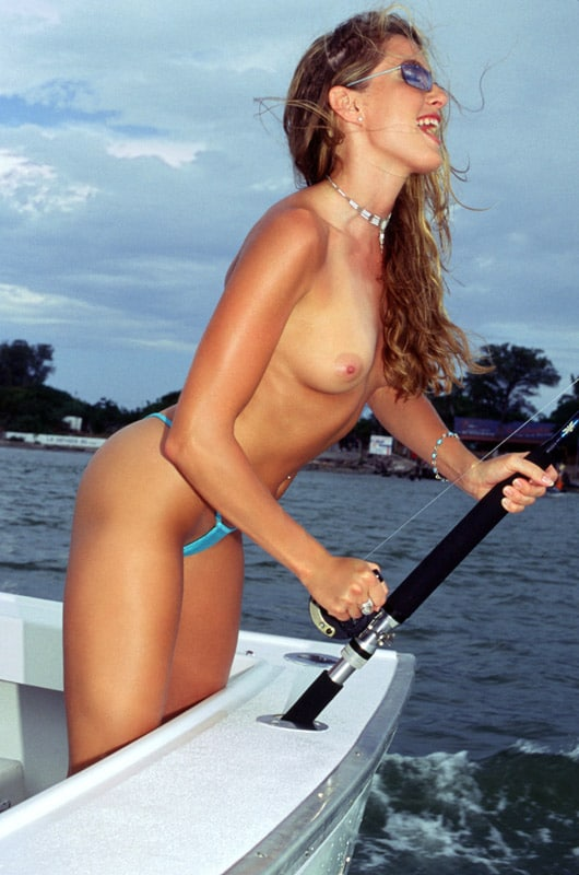 topless girl fishing
