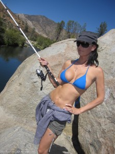 hot girl in a bikini fishing