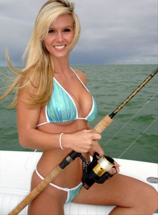 sexy blonde babe fishing in her bikini