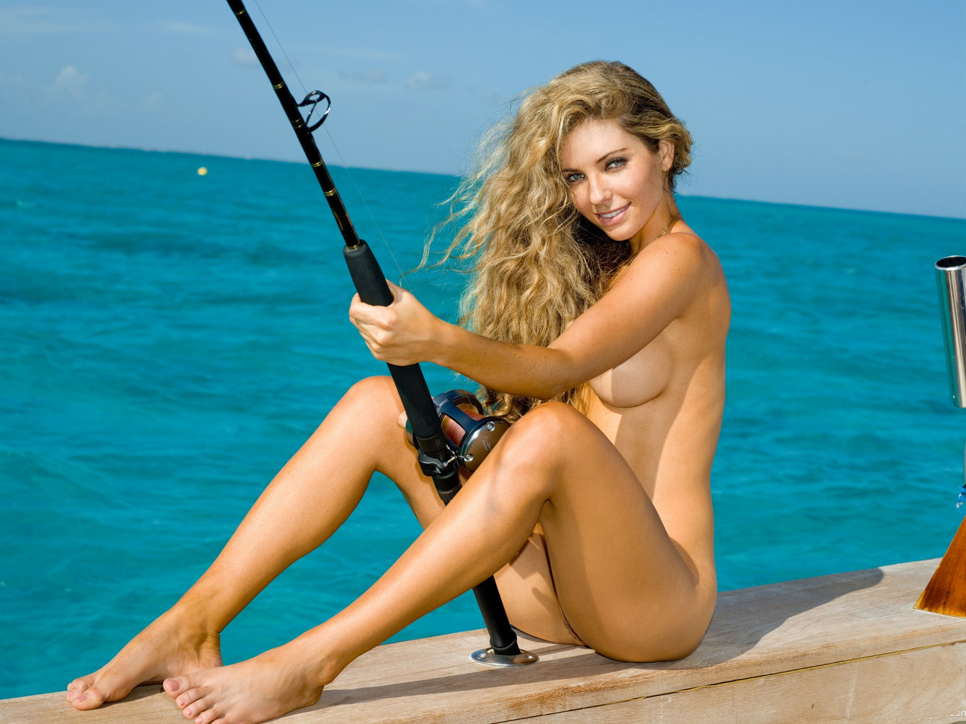 Hot nude girl fishing